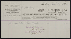Billhead for C.H. Codman & Co., photographic and framing materials, 34 Bromfield Street, Boston, Mass., dated June 30, 1882