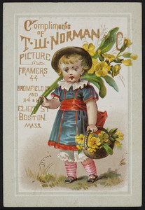 Trade card for T.W. Norman, picture framers, 44 Bromfield Street and 114 & 116 Eliot Street, Boston, Mass., undated