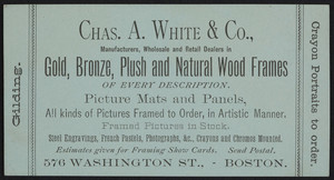 Trade card for Chas. A. White & Co., manufacturers, wholesale and retail dealers in gold, bronze, plush and natural wood frames, 576 Washington Street, Boston, Mass., undated