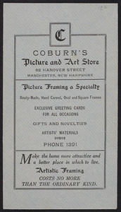 Envelope for Coburn's Picture and Art Store, picture framing, 62 Hanover Street, Manchester, New Hampshire, undated