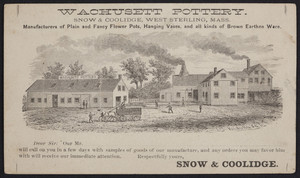 Postcard for the Wachusett Pottery, Snow & Coolidge, West Sterling, Mass., undated