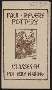 Brochure for Paul Revere Pottery, classes in pottery making, 80 Nottinghill Road, Brighton, Mass. and Boston, Mass., undated