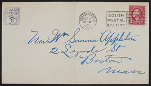 Envelope for the Dedham Pottery, location unknown, dated October 2, 1924