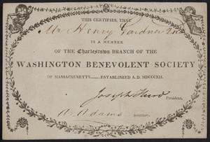 Membership card for the Charlestown Branch of the Washington Benevolent Society of Massachusetts, location unknown, undated