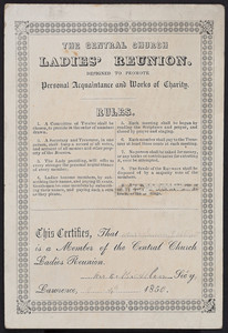 Membership card for The Central Church Ladies' Reunion, Lawrence, Mass., 1850