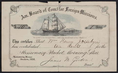 Certificate for the missionary packet, Morning Star, American Board of Commissioners for Foreign Missions, Missionary House, Boston, Mass., 1856