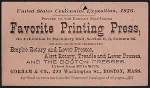 Trade card for Gorham & Co., printing presses, 299 Washington Street, Boston, Mass., 1876