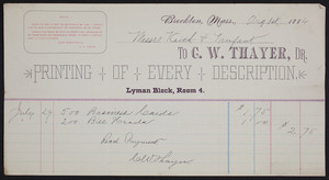 Billhead for C.W. Thayer, Dr., printing of very description, Lyman Block, Room 4, Brockton, Mass., dated August 1, 1884