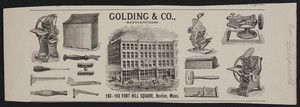 Advertisement for Golding & Co., manufacturers, 183-193 Fort Hill Square, Boston, Mass., undated