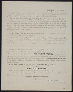 Circular for Ellis & Slote, lithographic and copper-plate printing, 102 Nassau Street, corner of Ann, New York, New York, May 1854