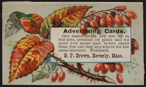 Trade card for G.P. Brown, advertising cards, Beverly, Mass., undated