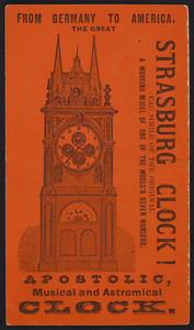 Trade card for the Strasburg Clock, What Cheer Printing House, Providence, Rhode Island, undated