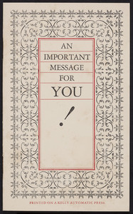 Important message for you! American Type Founders Company, Boston, Mass., 1925