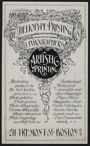 Trade card for The Heliotype Printing Co., lithographers, artistic printing, 211 Tremont Street, Boston, Mass., undated