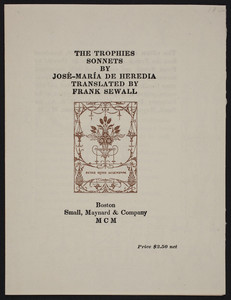 Sample page for Trophies sonnets by José-María de Heredia, Boston, Small, Maynard & Company, 1900