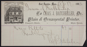 Billhead for Chas. J. Batcheller, Dr., plain & ornamental printer, Thayer's Block, Main Street, East Douglas, Mass., dated April 17, 1883