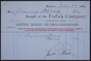 Billhead for the Forbes Company, Albertype Printers and Photo-Lithographers, 181 Devonshire Street, Boston, Mass., dated July 31, 1882