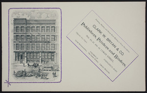 Handbill for Clark W. Bryan & Co., publishers, printers and binders, Nos. 39, 41 and 43 Lyman Street, Springfield, Mass., undated