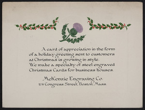 Greeting card for the McKenzie Engraving Co., 178 Congress Street, Boston, Mass., undated