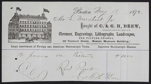 Billhead for C. & G.H. Drew, wholesale and retail dealers in chromos, engravings, lithographs, landscapes and picture-frames, 22 Tremont Street, Boston Museum Building, Boston, Mass., dated May 13, 1872
