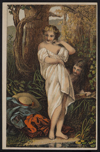 Sample card of two women in the woods, location unknown, undated