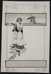Sample for shoe advertisement, Dutch costume image, location unknown, undated