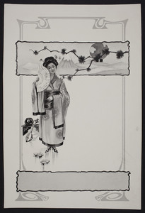 Sample for shoe advertisement, Japanese costume image, location unknown, undated