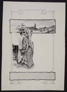 Sample for shoe advertisement, London cab costume image, location unknown, undated