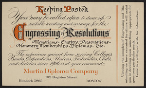 Postcard for the Martin Diploma Company, engrossing and illuminating, 132 Boylston Street, Boston, Mass., dated January 29, 1927