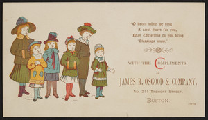 Trade card for the James R. Osgood & Company, No. 211 Tremont Street, Boston, Mass., 1881