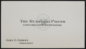 Trade card for The Rumford Press, Concord, New Hampshire, undated