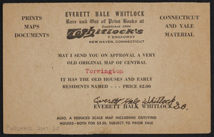 Postcard for Everett Hale Whitlock, rare and out of print books, Whitlock's 7 Broadway, New Haven, Connecticut, undated