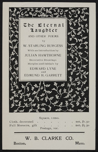 "Leaflet for ""The eternal laughter and other poems,"" by W. Starling Burgess, W.B. Clarke Co., publishers, Park Street Church, Boston, Mass., 1903"