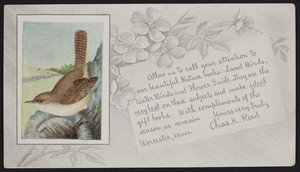 Trade card for Chas. K. Reed, publisher, Worcester, Mass., 1900-1915