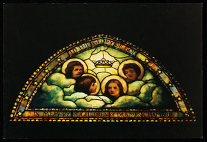 Postcard of Cherubim window in St. Anne's Church, Lowell, Mass., created by Tiffany Studios, Lyn Hovey Studio, Inc., 21 Drydock Avenue, Boston, Mass.