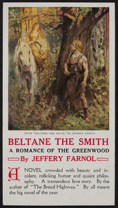 "Postcard for ""Beltane the smith,"" by Jeffery Farnol, The H.R. Huntting Company, booksellers and publishers, Springfield, Mass., 1915"