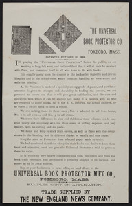 Circular for the Universal Book Protector Mfg. Co., Foxboro, Mass., undated