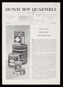 Dutch Boy quarterly, volume 11, number 1, National Lead Company, 111 Broadway, New York, New York
