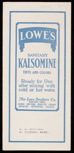 Lowe's Sanitary Kalsomine tints and colors, The Lowe Brothers Co., Dayton, Ohio