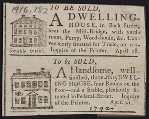 Advertisement for real estate, houses, location unknown, April 1792