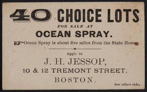 Trade card for J.H. Jessop, real estate agent, 10 & 12 Tremont Street, Boston, Mass., undated