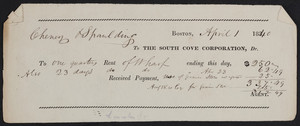Rent check for The South Cove Corporation, Dr., Boston, Mass., dated April 1, 1840