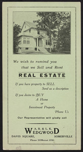 Trade card for A.B. & L.K. Wedgwood, real estate, Davis Square, Somerville, Mass., undated