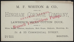 Trade card for M.F. Whiton & Co., agents, 31 & 33 Commercial Street, Boston, Mass., undated
