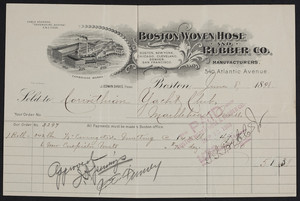 Billhead for the Boston Woven Hose and Rubber Co., manufacturers, 540 Atlantic Avenue, Boston, Mass., dated June 8, 1898