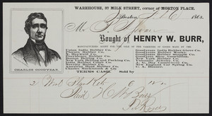 Billhead for Henry W. Burr, manufacturers agent for rubber companies, 37 Milk Street, corner of Morton Place, Boston, Mass., dated February 6, 1863