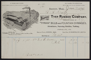 Billhead for Tyer Rubber Company, manufacturers of Tyrian Bulb and Fountain Syringes, Andover, Mass. and 50 Bromfield Street, Boston, Mass., dated June 11, 1894