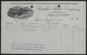 Billhead for the Stoughton Rubber Company, 232 Summer Street, Boston, Mass., dated April 26, 1904