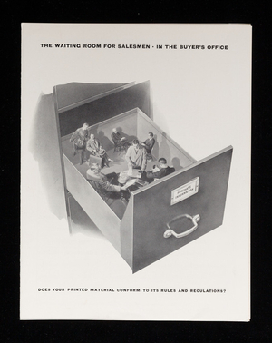 Waiting room for salesmen in the buyer's office, does your printed material conform to its rules and regulations? S.D. Warren Company, 89 Broad Street, Boston, Mass.