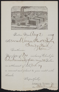 Receipt for the American Rubber Co., Boston, Mass., dated August 2, 1889